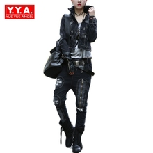 Winter New Arrival Fashion Women Motorcycle Punk Style Denim Single Breasted Turn Down Collar Casual Jackets Sets Jeans