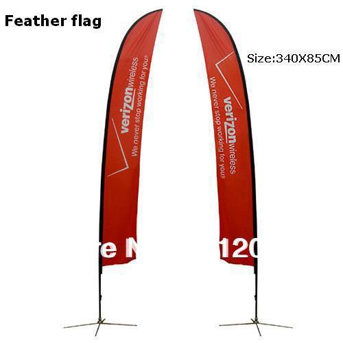 Vysoce kvalitní vlastní peří vlajka 340 x 85 cm s oboustranným tiskem