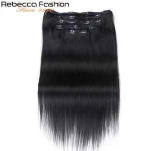 Extensions naturelles péruviennes Remy lisses-Rebecca | Couleur # 1B, 7 pièces, Extensions de cheveux humains, avec clips, tête complète, 7 pièces/ensemble