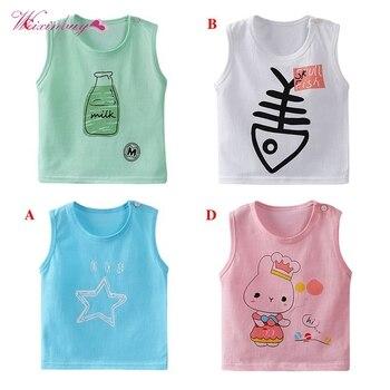 4 Styles Baby Boy Sleeveless T-shirts Children Cartoon Big Girls Vest 1-5 Years Child Boy Vest Baby T shirt Kid Summer Vest conjuntos casuales para niñas