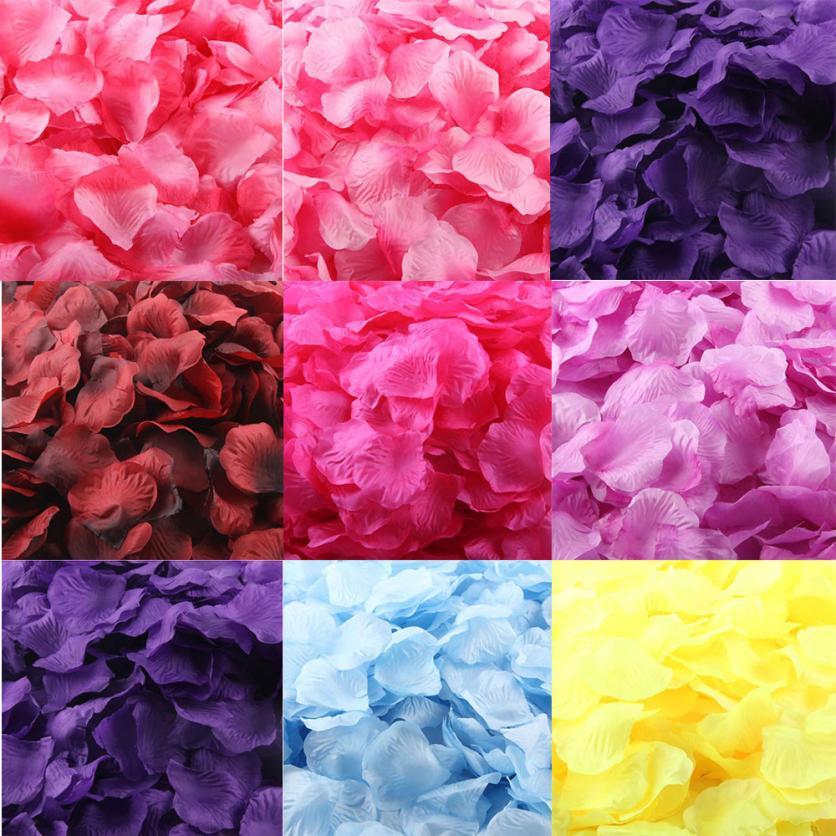 Fashion Fake Flower Heaven 45mm*45mm 1000pcs Burgundy Silk Rose Artificial Petals Wedding Party Flower Favors Decor MAR18