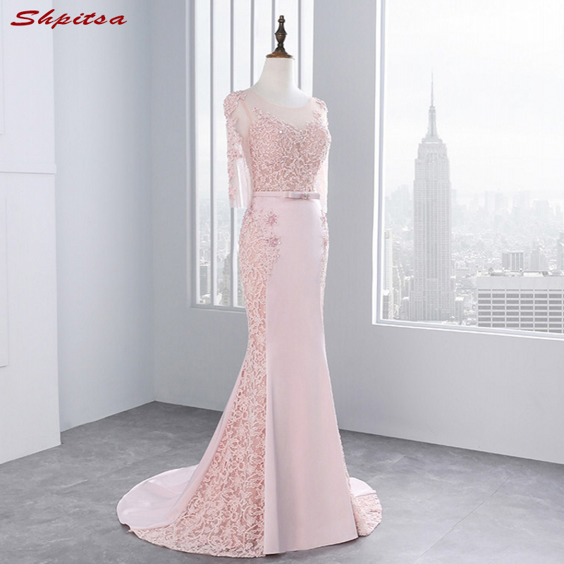 Pink Long Sleeve Lace Prom Dresses Mermaid Party Evening Dress for Graduation vestido de formatura longo