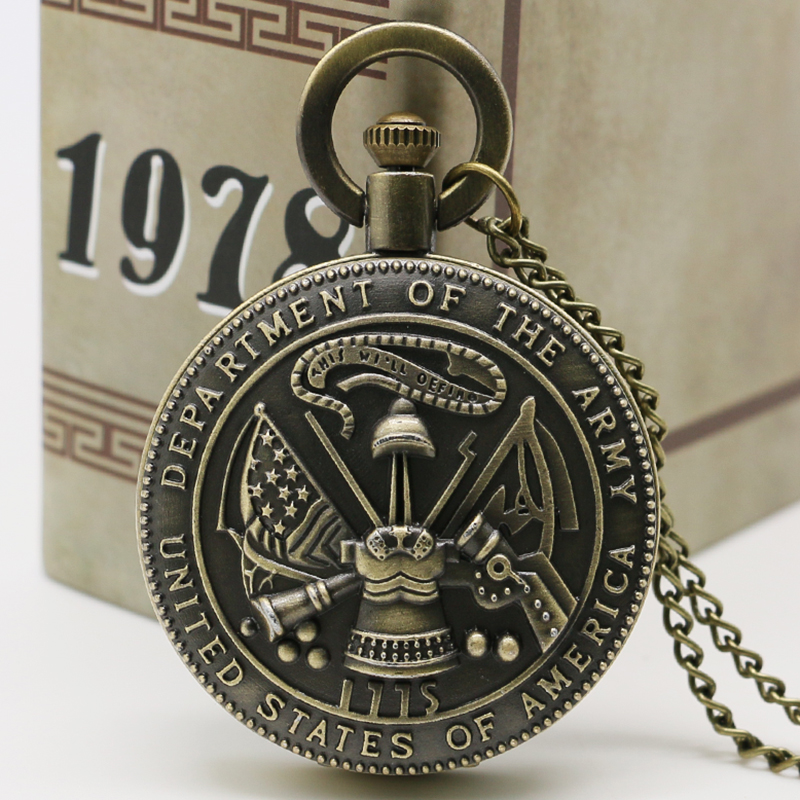 New Style Vintage Bronze The USA Department Of The Army Pocket Watch With Necklace Chain