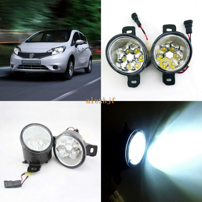 July King 18W 6LEDs H11 LED Fog Lamp Assembly Case for Nissan Note 2014~ON,  6500K 1260LM LED Daytime Running Lights july king 18w 6leds h11 led fog lamp assembly case for nissan x trail 2014 on rouge 2008 2011 2014 on 6500k 1260lm led drl