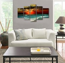 extra large canvas prints sunset on sea beach with sea bird wall art 5 panels seascape painting ocean art for home and office