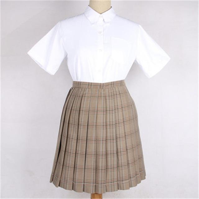 9a1346a2ea Estudiantes uniformes JK alta cintura de la tela escocesa caliente Japonés uniforme  escolar falda plisada de