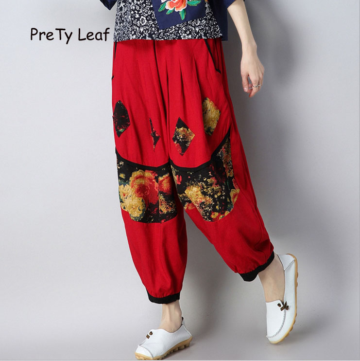 2018 spring and summer printing loose cotton and linen   wide     leg     pants
