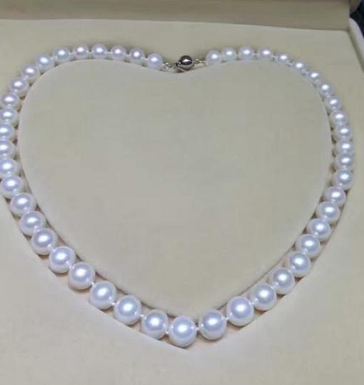 AAA 9-10mm south seas white pearl necklace 18 inch 925 silver claspAAA 9-10mm south seas white pearl necklace 18 inch 925 silver clasp