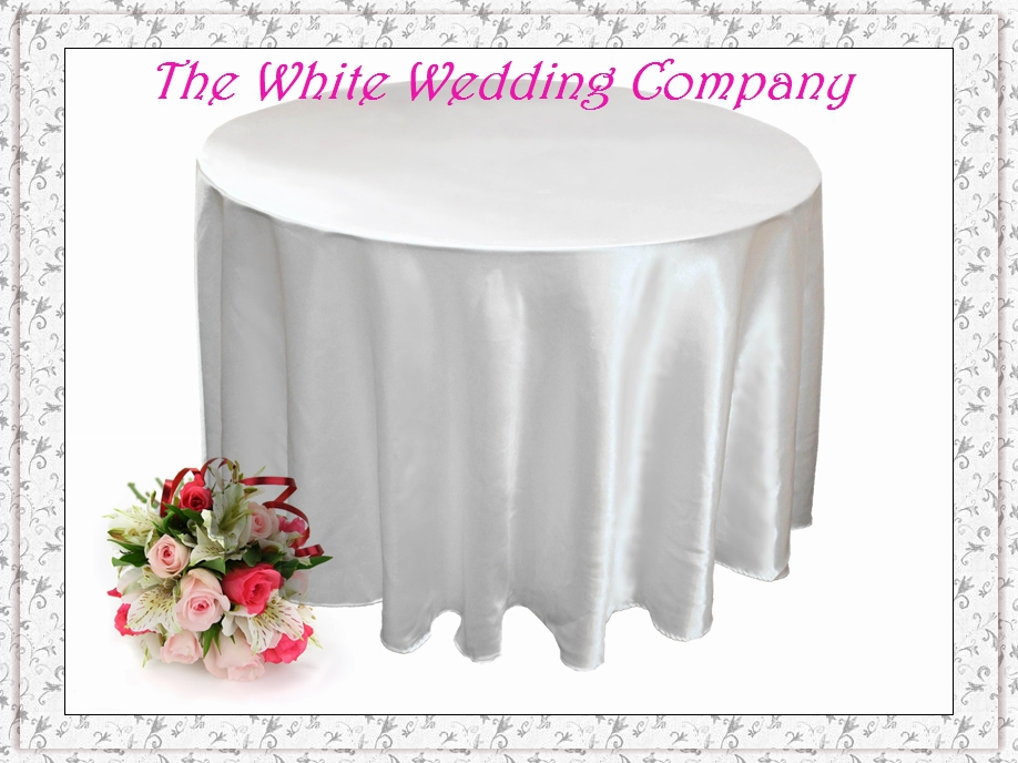 10 Satin 108' Cheap White Wedding Table Cloths Round ...