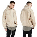 Denim jacket men with frayed hole drop shoulder solid color men casual denim jacket fashion kanye streetwear oversize bat design