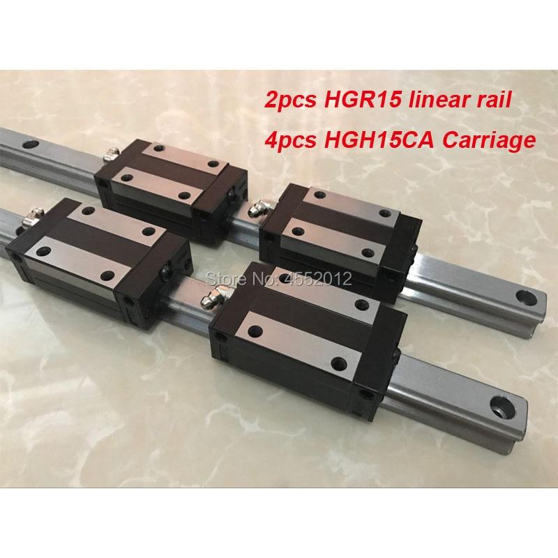 2pcs linear guide rail HGR15 - 200 250 300mm with 4 pcs linear block carriage HGH15CA CNC parts2pcs linear guide rail HGR15 - 200 250 300mm with 4 pcs linear block carriage HGH15CA CNC parts