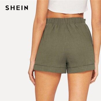 SHEIN Self Belted Elastic Waist Shorts Fitness Swish Women Army Green Solid Mid Waist Shorts 2019 Fashion Summer Shorts 1