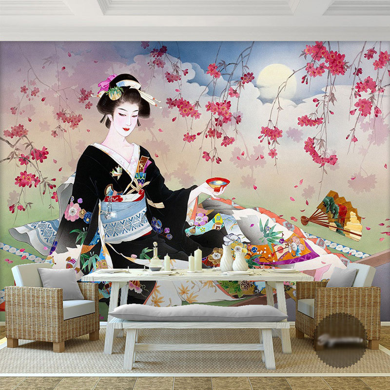 Custom 3d wallpaper japanese geisha photo wallpaper for Asian wallpaper mural
