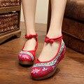 2016 Mulheres Da Moda Sapatos Velhos Pequim Mary Jane Flats Com Sapatos Bordados Estilo Chinês Pano Sapatos Casuais Mulher Plus Size