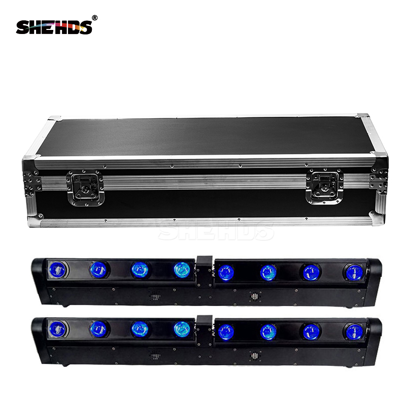 LED Bar Beam Moving Head Light With Flightcase RGBW 4x12W+4x12W Perfect For Mobile DJ Party Nightclub SHEHDS Stage Lighting цена