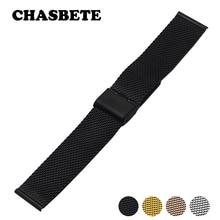 16 мм 18 мм 20 мм 22 мм 24 мм из нержавеющей стали ремешок для часов Citizen для мужчин и женщин металлический ремешок на запястье петля ремень браслет черный