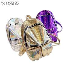 Известный дизайнер голограмма школьные рюкзаки для девушки кожаные сумки модные серебристые лазерной женщин рюкзаки женские дорожная сумка