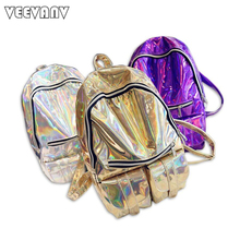 Famous Designer Hologram School Backpacks for Girl Leather Shoulder Bags Fashion Silver Laser Women Backpacks Female Travel Bag