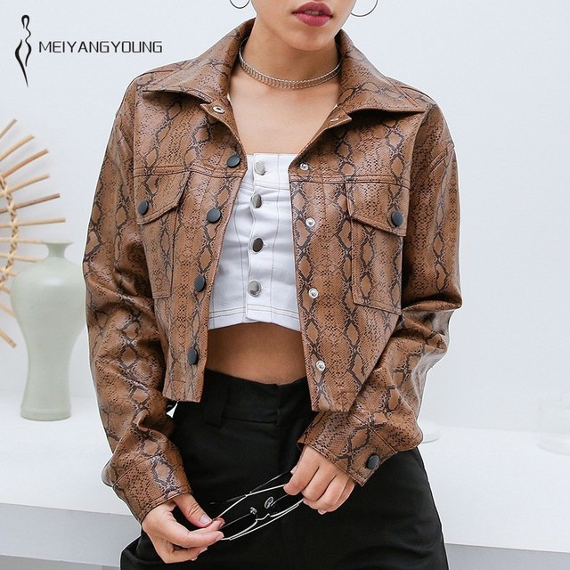 48b3b7abe7c8 Snake Skin Print Faux Leather Jacket Women Punk Motorcycle Jacket Autumn  Winter Casual Bomber Coat Pockets Button Outerwear