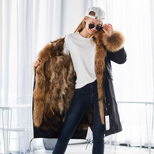 Image 3 - Mao mao kong  Winter Woman natural fur overcoat plus size Women parkas black raccoon fur lining X long warm jacket coats