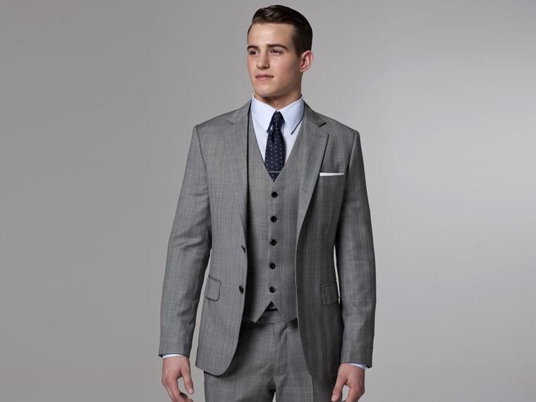 Grey Three Piece Wedding Suit - Ocodea.com
