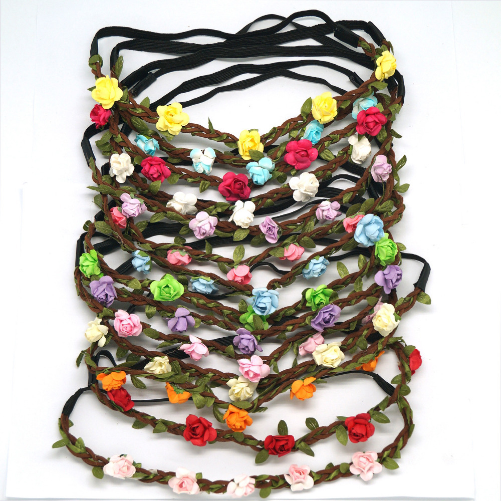 Fashion Women Bride Flower Headband Bohemian Style Rose Flower Crown Hairband Ladies Elastic Beach Hair Accessories 6pcs/lot metting joura vintage bohemian ethnic tribal flower print stone handmade elastic headband hair band design hair accessories