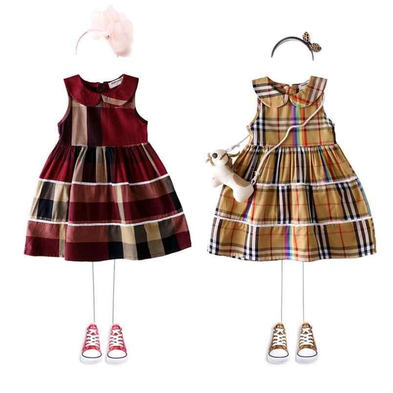 9da175f1441ce Retail 2019 Children Girls Cotton Plaid Summer Dresses, Princess Elegant  Preppy Style Dress 2-6T