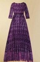 New Arrival 2015 Luxury Fashion Party Long Dress Allover Shiny Sequin Slash High Neck 3/4 Sleeve Sheath Event Dress Purple