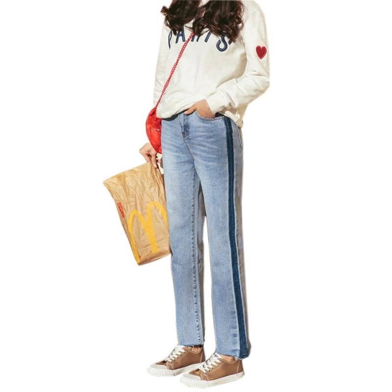 HziriP Korean Vintage Jeans Women Casual Denim Pant 2017 Spring Summer Pockets Straight High Waist Jean Ladies Panelled Bottom flower embroidery jeans female blue casual pants capris 2017 spring summer pockets straight jeans women bottom a46
