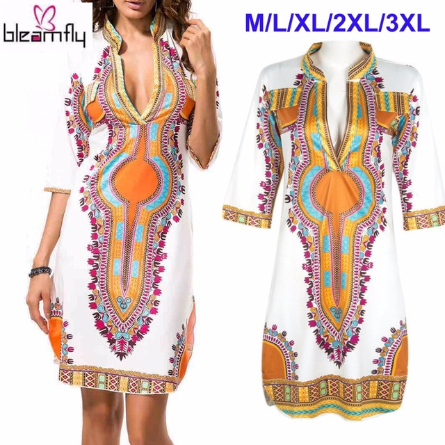 c5c16167958cd Wholesale African Dresses For Women Indian Print Plus Size Dashiki Clothing  Robe Femme Boho Dashiki Fabric