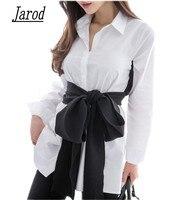 2017 Outono Coreano Moda Laço Camisa Blusa Feminino Arco Preto Longo manga da Camisa Branca OL Senhora Do Escritório Da Camisa Plus Size Mulheres Tops