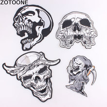 ZOTOONE Fashion Punk Skull Patches Biker Rock Large Embroidered Motorcycle Patches for Clothes Jacket Bags DIY Back Badge C
