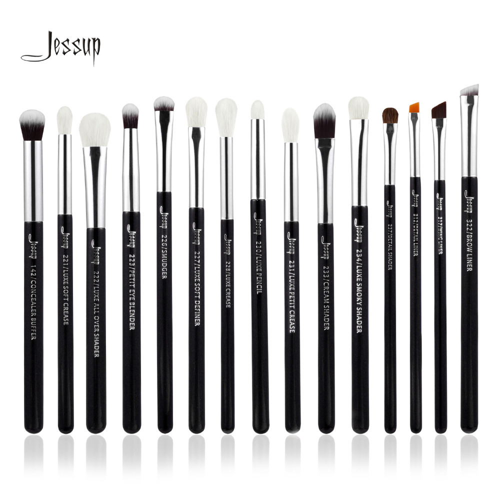 Jessup Brand Black/Silver Professional Makeup Brushes Set Make up Brush Tools kit...