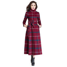 Genuine Cashmere Overcoat 2016 Autumn Winter Fashion Red Plaid Womens Outwear Single Breasted Stand Collar Female Plus Size Coat