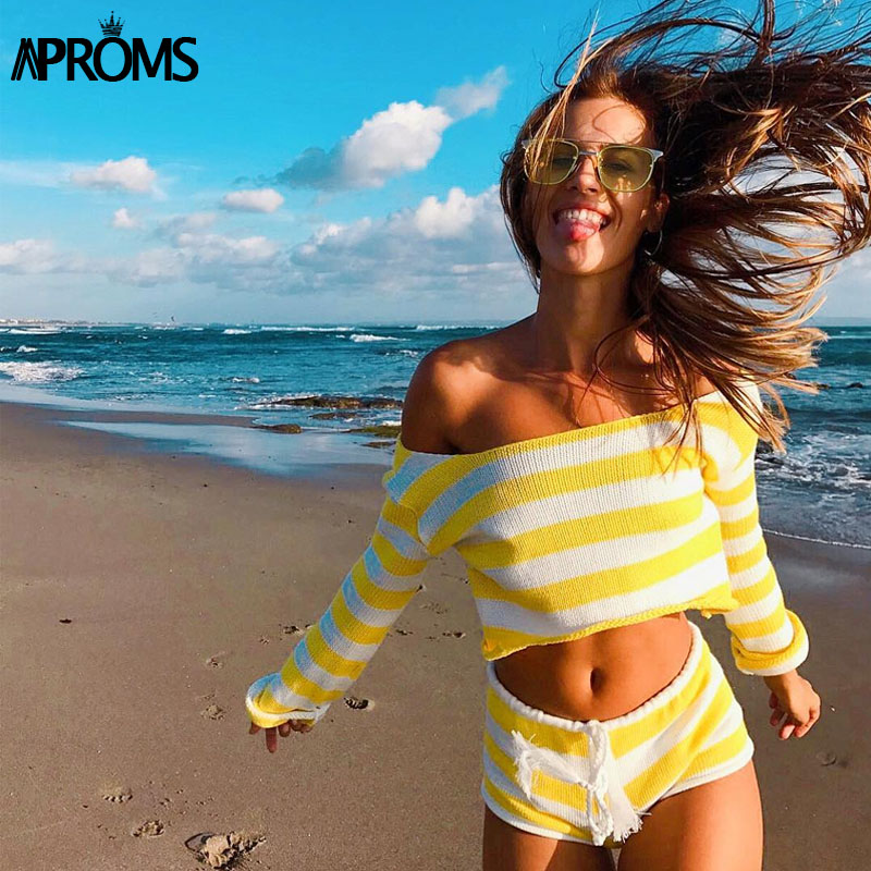 Aproms Summer Striped Cotton Knitted Beach Crop Top And Shorts Women 2 Pieces Set Casual High Waist Shorts Ladies Bikini Outfits