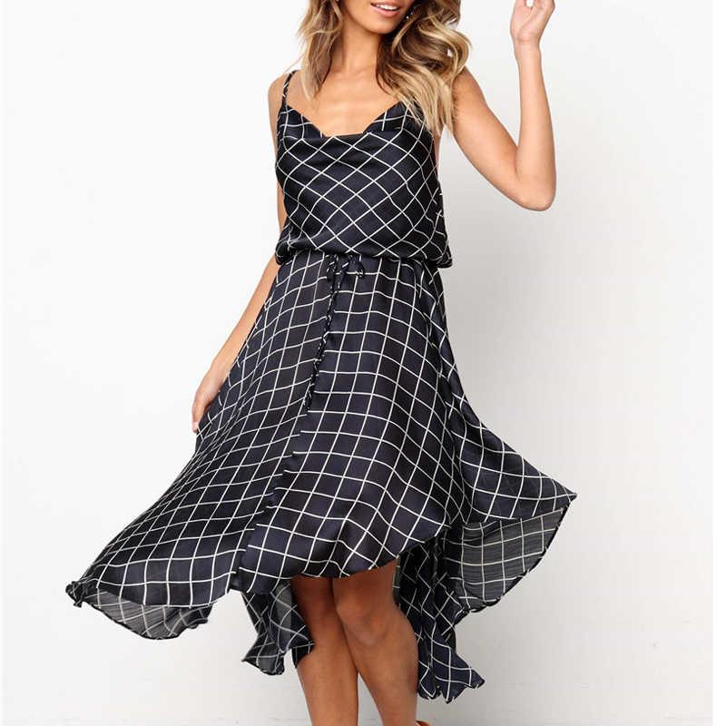 Сексуальное платье в английском стиле на бретельках с поясом, летнее, синее, красное, клетчатое, тонкое, на бретельках, асимметричное, кружевное платье, Vestido Verano Mujer