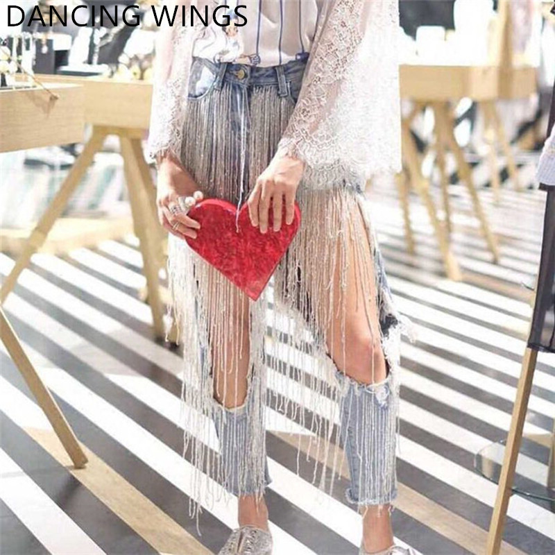 Jeans Femme 2020 Streetwear Beading Tassel Big Hole Sexy Beggar Jeans Women Punk Denim Pencil Pants