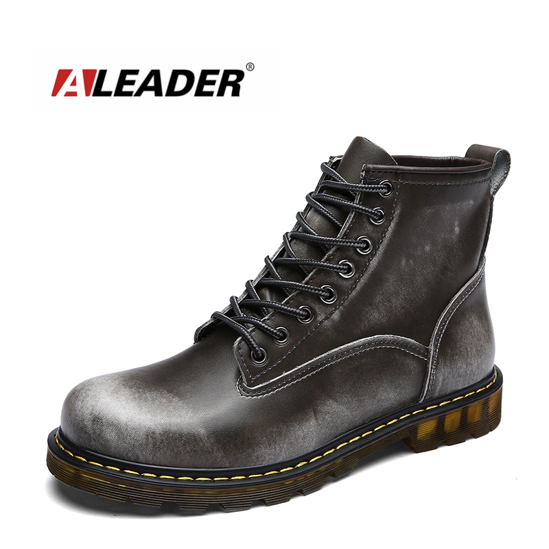ALEADER Fashion Men Marti Boots Genuine Leather Shoes Luxury Cowboy Ankle Boot Men Lace Up Riding Booties Thigh High Boot Casual front lace up casual ankle boots autumn vintage brown new booties flat genuine leather suede shoes round toe fall female fashion