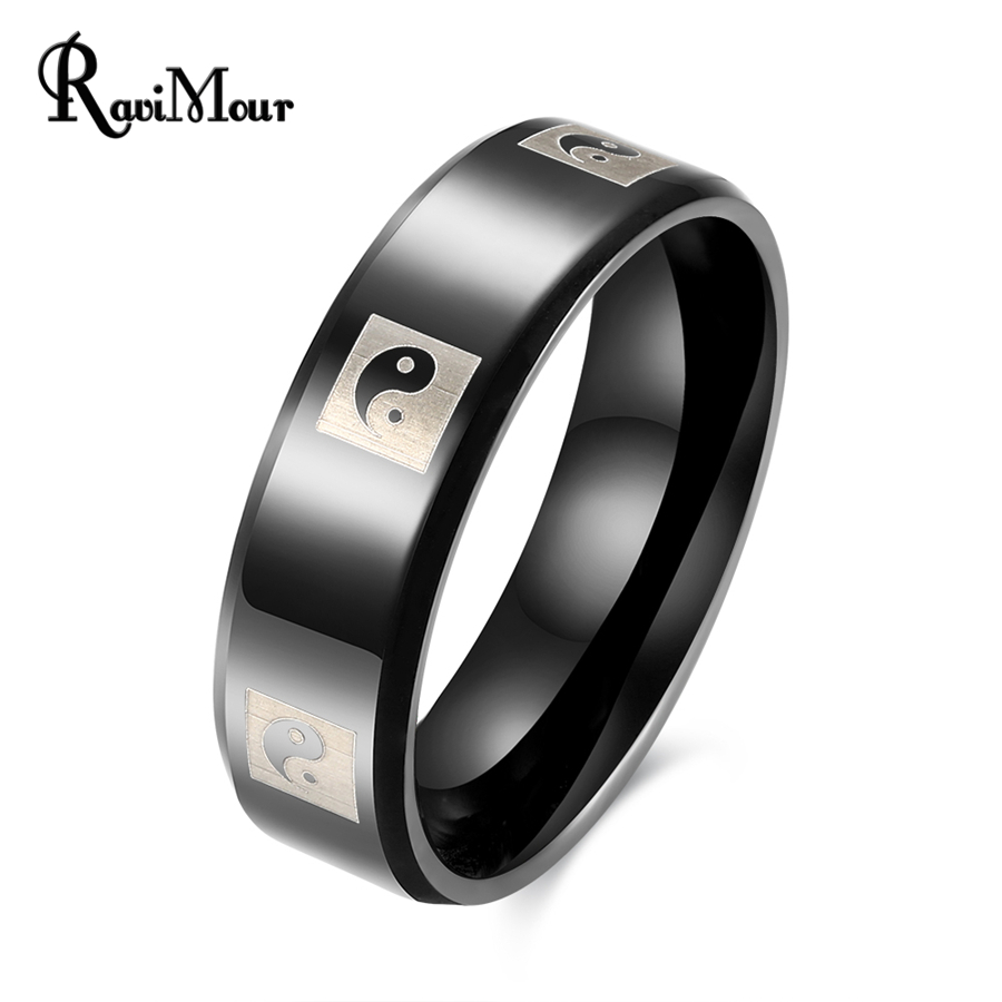 RAVIMOUR Anel Masculino Punk Black Color Stainless Steel Ring Men Jewelry 8mm Taiji Printing Finger Rings Vintage Accessories