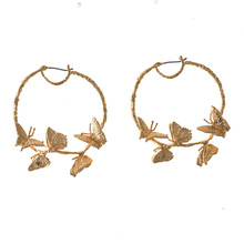 New Hoop Earrings Alloy Butterfly Female Fashion Round Circles Women Jewelry Pendant Luxurious