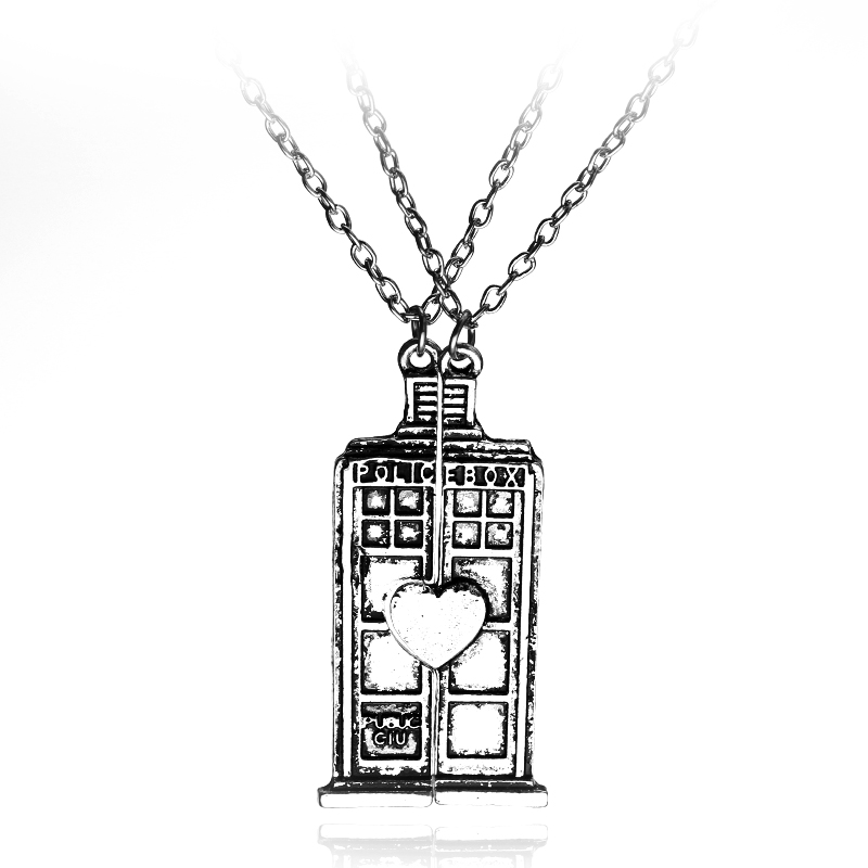12pcs/lot Fashion Jewelry Doctor Who Tardis Phone Booth Double Heart Pendant Couples Necklace lovers Women Men Gift Wholesale