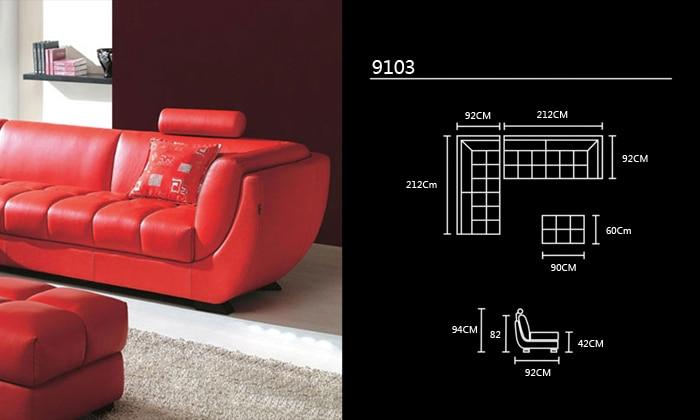 Envío Gratis clásico estilo europeo cuero de ganado rojo pasión sofá ...