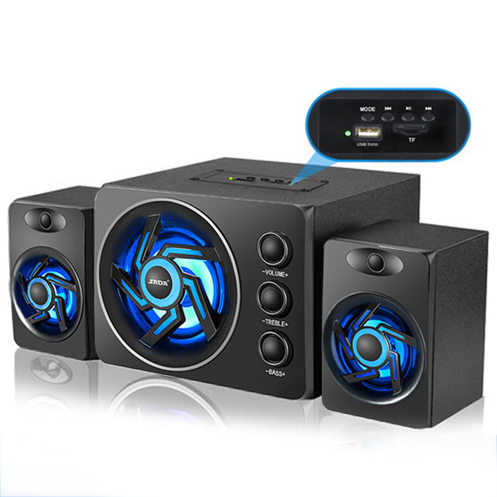 SADA D-209 With Colorful LED Light Desktop Computer Speaker With Subwoofer Perfect 2.1 Gaming And Multimedia PC Speakers цена