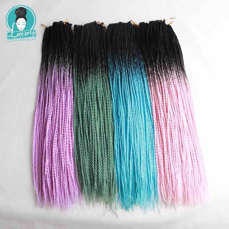 Роскошный для плетения зеленый фиолетовый розовый коричневый блонд Омбре Сенегальские вьющиеся волосы крючком косы 24 дюйма 24 корни/упаковка