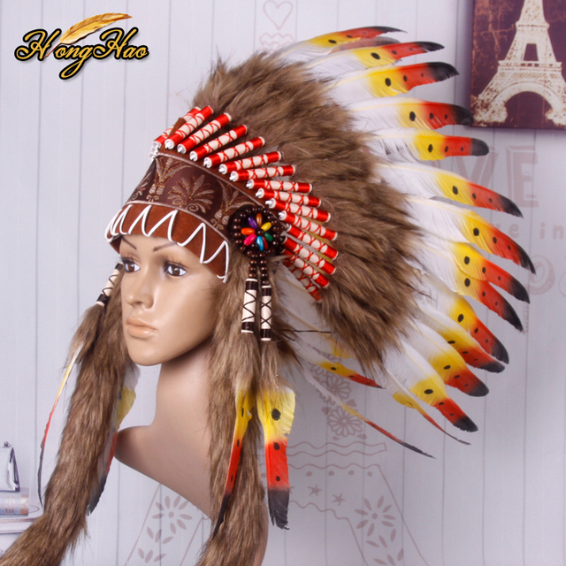 21inch high New design Indian Feather headdress costumes handmade indian feather headdress war bonnet hat costumes  sc 1 st  AliExpress.com & 21inch high New design Indian Feather headdress costumes handmade ...
