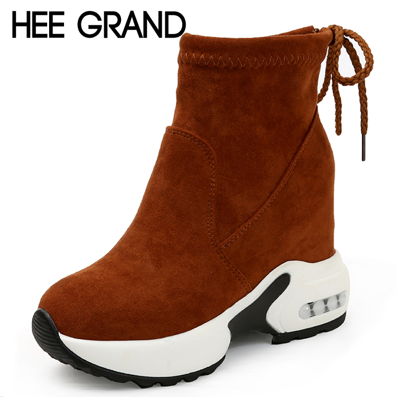 HEE GRAND Suede Winter Rubber Women Ankle Boots Casual Solid Creepers Shoes Woman Fashion Women Inner Incareased Shoes XWX6827 hee grand inner increased winter ankle boots warm fringe fashion platform women snow boots shoes woman creepers 3 colors xwx6180