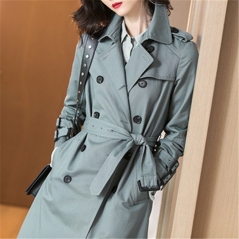 Fashion High-end 2019 Spring Autumn Women New Long Double-breasted Trench Coat X478