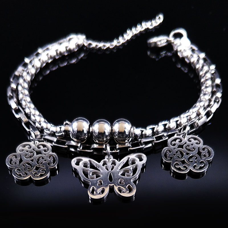 Butterfly Stainless Steel Bracelet Women Double Flower Silver Color Bracelets & Bangles Jewelry pulseras mujer moda 2019 B61474