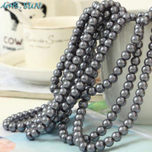 MHS.SUN Loose Gray Glass Imitation Pearls 3MM-16MM Round Spacer Pearl Beads For Jewelry Making Clothing Decoration Art Nail(China)