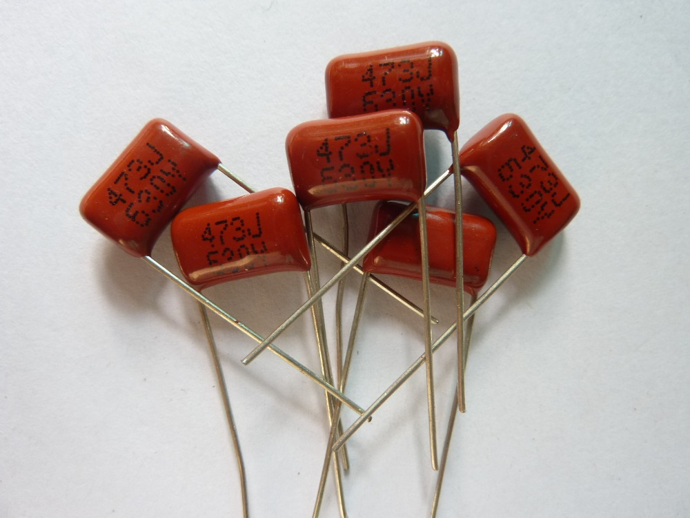 100pcs CBB 473 630V 473J CL21 0.047uF 47nF P10 Metallized Polypropylene Film Capacitor